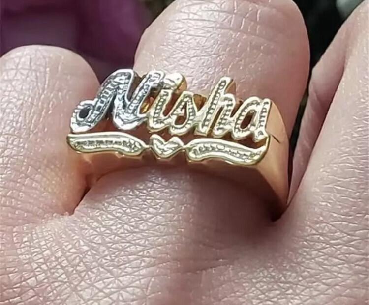Custom Bling Name Ring