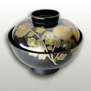 Wooden lacquer bowl with inner black sensaimaru Kikumoto lacquer