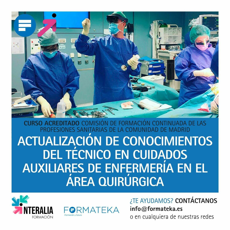 Actualización de conocimientos de Técnico en Cuidados Auxiliares en Enfermería en el Área Quirúrgica  - 50 Horas - 5,85 Créditos CFC