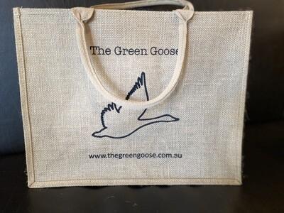 "Jute ""The Green Goose"" Shopping Bag"