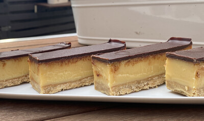 Caramel & Chocolate Slice w/ Couverture Chocolate