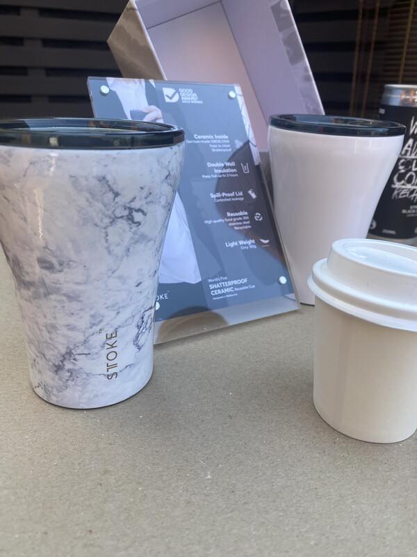 Sttoke 8oz Coffee Cup ~ 100% Ceramic Shatterproof Reusable w/ Free Coffee