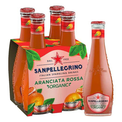 "San Pellegrino ""Aranciata Rossa"" Blood Orange Organic Italian Sparkling Water 200ml : 4 Pack Glass Bottles"