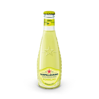 "San Pellegrino ""Pompelmo"" Grapefruit Italian Sparkling Water 200ml : 4 Pack Glass Bottles"