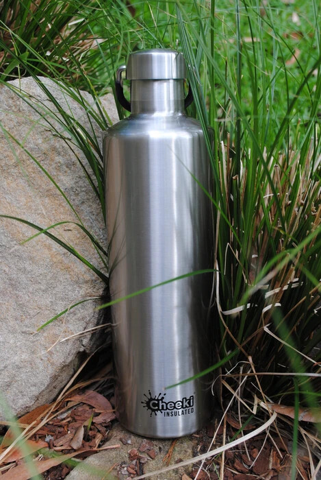 """1 Litre Classic """"Cheeki"""" Thermal Insulated Bottle - Silver"""