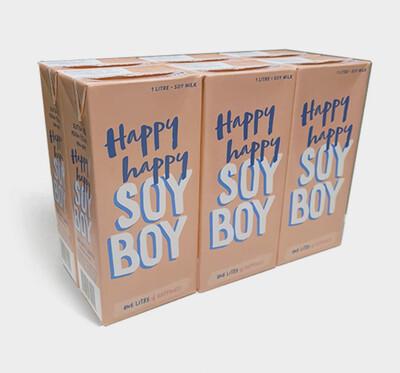 """6 x HAPPY HAPPY SOY BOY : 1ltr UHT milk - The Baristas Milk """" Dairy Free """""""