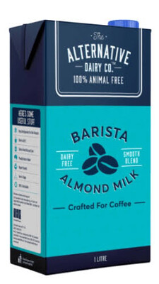 "6 x ALMOND MILK ALTERNATIVE BREWING 1ltr UHT milk - The Baristas Milk "" Dairy Free """