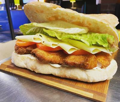 CHICKEN SCHNITZEL TURKISH BREAD SANDWICH