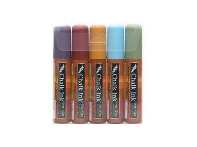 Marker Wet Wipe Chalk 5/Pk Earthy 15Mm