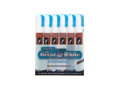Marker Wet Wipe Chalk 6/Pk Great White 6Mm