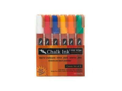 Marker Wet Wipe Chalk 6/Pk Classic 6Mm