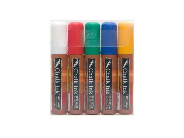 Marker Wet Wipe Chalk 5/Pk Classic 15Mm
