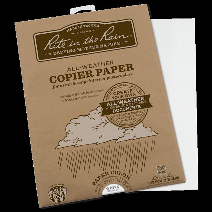 "Paper 8511-50 Letter Copy/Laser White, 50 Pack, 8 1/2"" x 11"" - Rite In The Rain"
