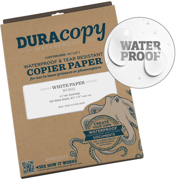 "Paper 651 Duracopy Laser White, 100 Pack, 8.5"" x 11"" - Rite In The Rain"