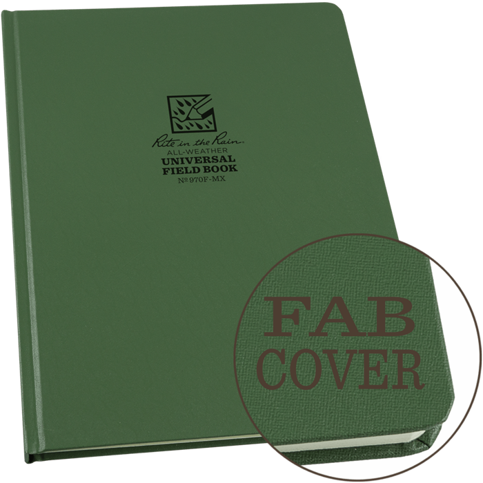 """Notebook 970F-MX Hardcover Universal Green, 8 1/4"""" x 11, Perforated - Rite In The Rain"""
