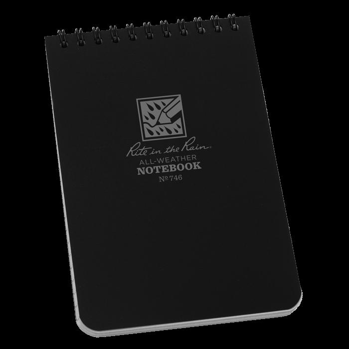 "Notebook 746 Top Coil Universal Black, 4"" x 6"" - Rite In The Rain"