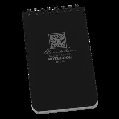 "Notebook 735 Top Coil Universal Black, 3"" x 5"" - Rite In The Rain"