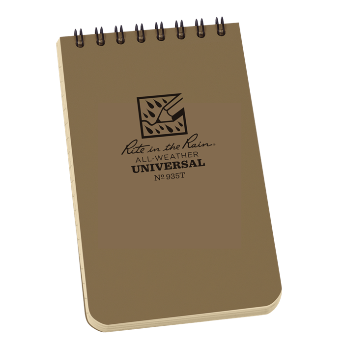 "Notebook 935T Top Coil Universal Tan, 3"" x 5"" - Rite In The Rain"