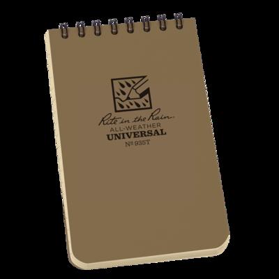 "Notebook 935T Top Coil Universal Tan, 3"" x 5"" - Rite In The Rain"