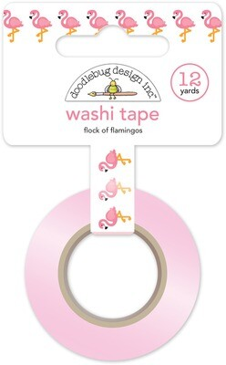 Washi Tape - Flock Of Flamingos 15mm 30 Feet