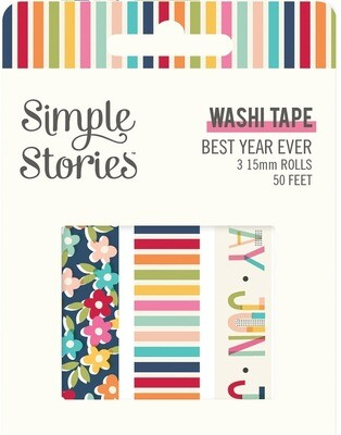 Washi Tape - Best Year Evert 3 rolls 15mm 50 Feet