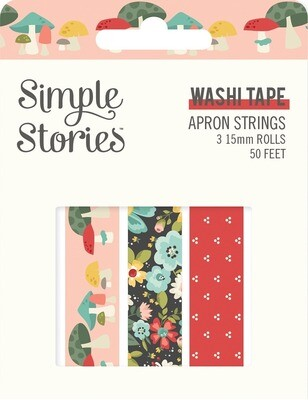 Washi Tape - Apron Strings 3 rolls 15mm 50 Feet