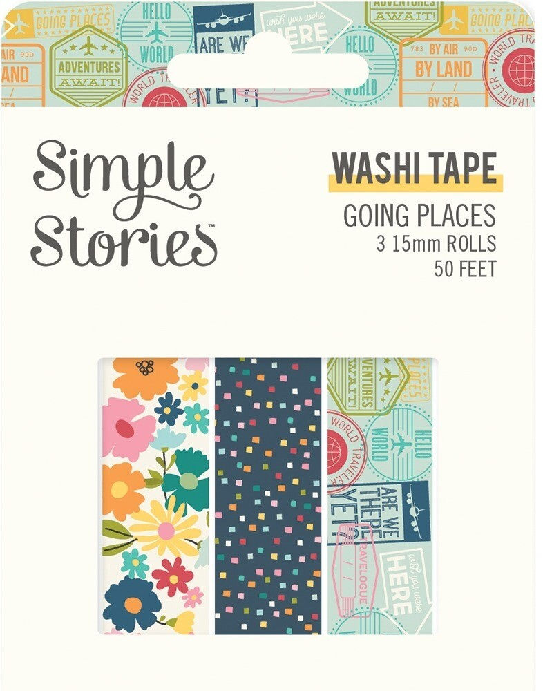 Washi Tape - Going Places 3 rolls 15mm 50 Feet