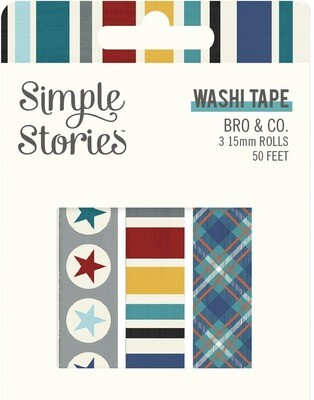 Washi Tape - Bro & Co 3 rolls 15mm 50 Feet