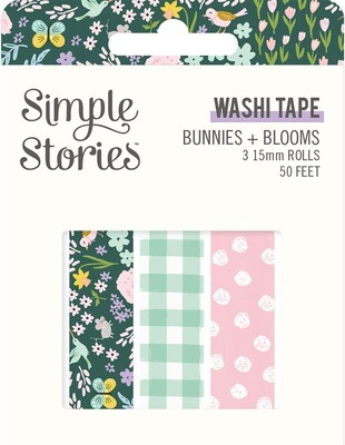 Washi Tape - Bunnies & Blooms 3 rolls 15mm 50 Feet