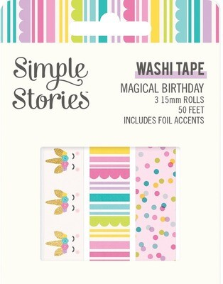 Washi Tape - Magical Birthday 3 rolls 15mm 50 Feet