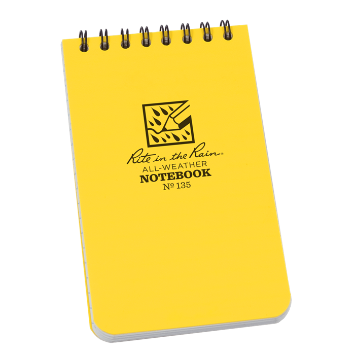 "Notebook 135 Top Coil Universal Yellow, 3"" x 5"" - Rite In The Rain"