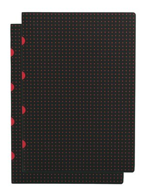 Notebook A4 Lined Paper-oh 80 pg 2 pk Black on Red