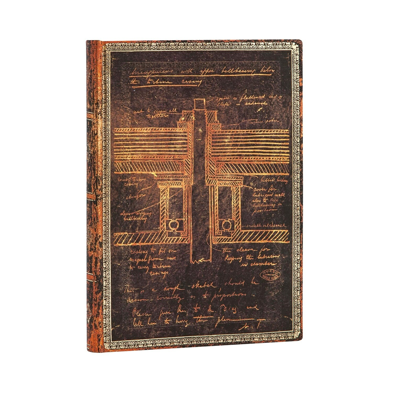 Journal, Lined, Midi Flexis Tesla, Sketch Of A Turbine - Embellished Manuscripts