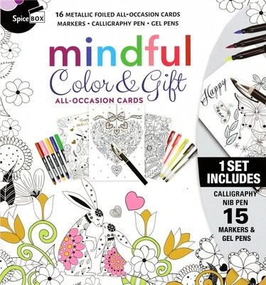 Cards 16 All Occasion Color & Gift W 15 Pens & Markers