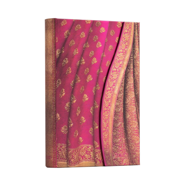 Planner, Daily, Midi Wrap - Yearly 12 months Gulabi - Varanasi Silks and Saris