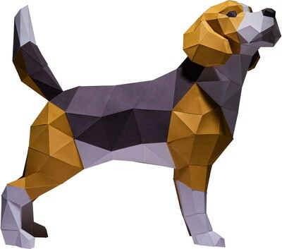 "3D Papercraft Modle DIY Kit - Beagle Tabel & Floor 16.5"" x 7.9"" x 18.9"""