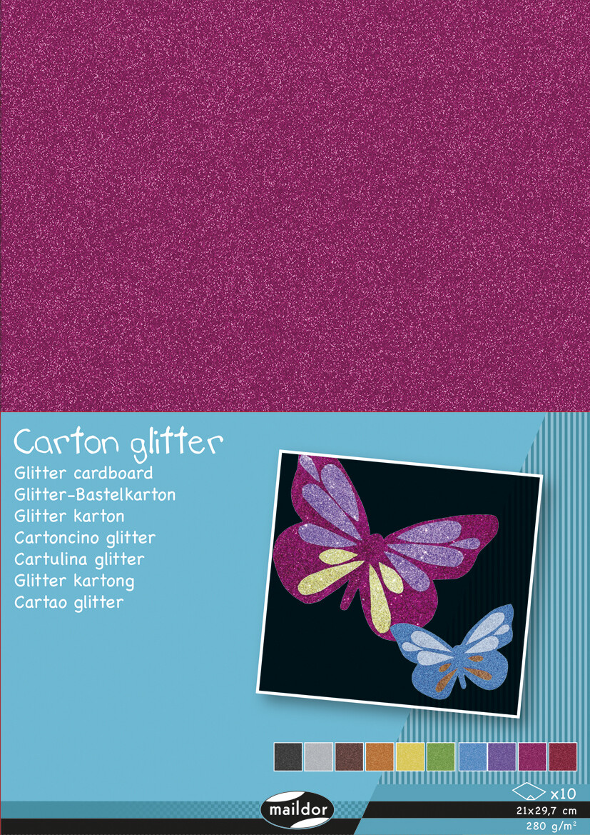 Cardstock, Glitter  Assorted Colour, A4, 10 Pack