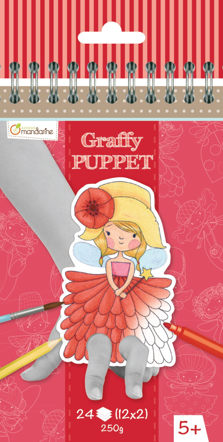 Colouring Book, Finger Puppet  Fairies, Pre Cut, 24 Page