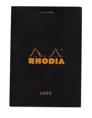 Notepad, Rhodia, Lined  Black, A7, Top Staple