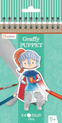Colouring Book, Finger Puppet Dragons & Knights, Pre Cut Out, 24 Page