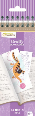 Colouring Bookmark, Cats 12 Designs, 24 Pages, 6 x 1 x 20,5 cm