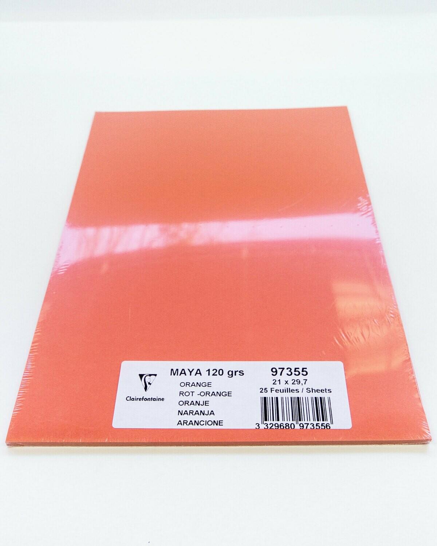 Cardstock, Maya, 54Lb Orange, A4, 25 Pack