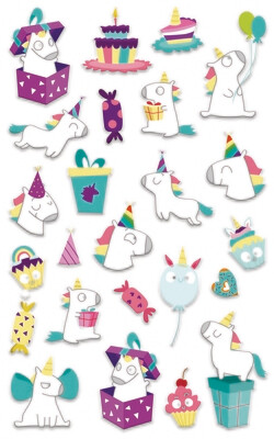 Stickers, Cooky Birthday Unicorns, 24 Sticker