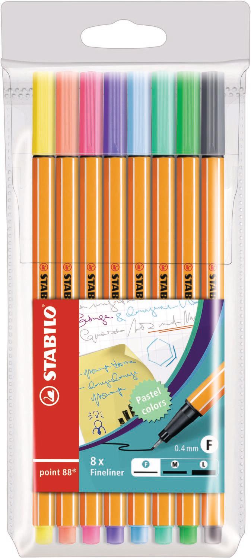 Pen, Fineliner, Point 88  Pastel, 8 Pack, 0.4 Mm
