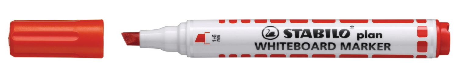 Marker, Whiteboard, Chisel, Plan Red, Box of 10