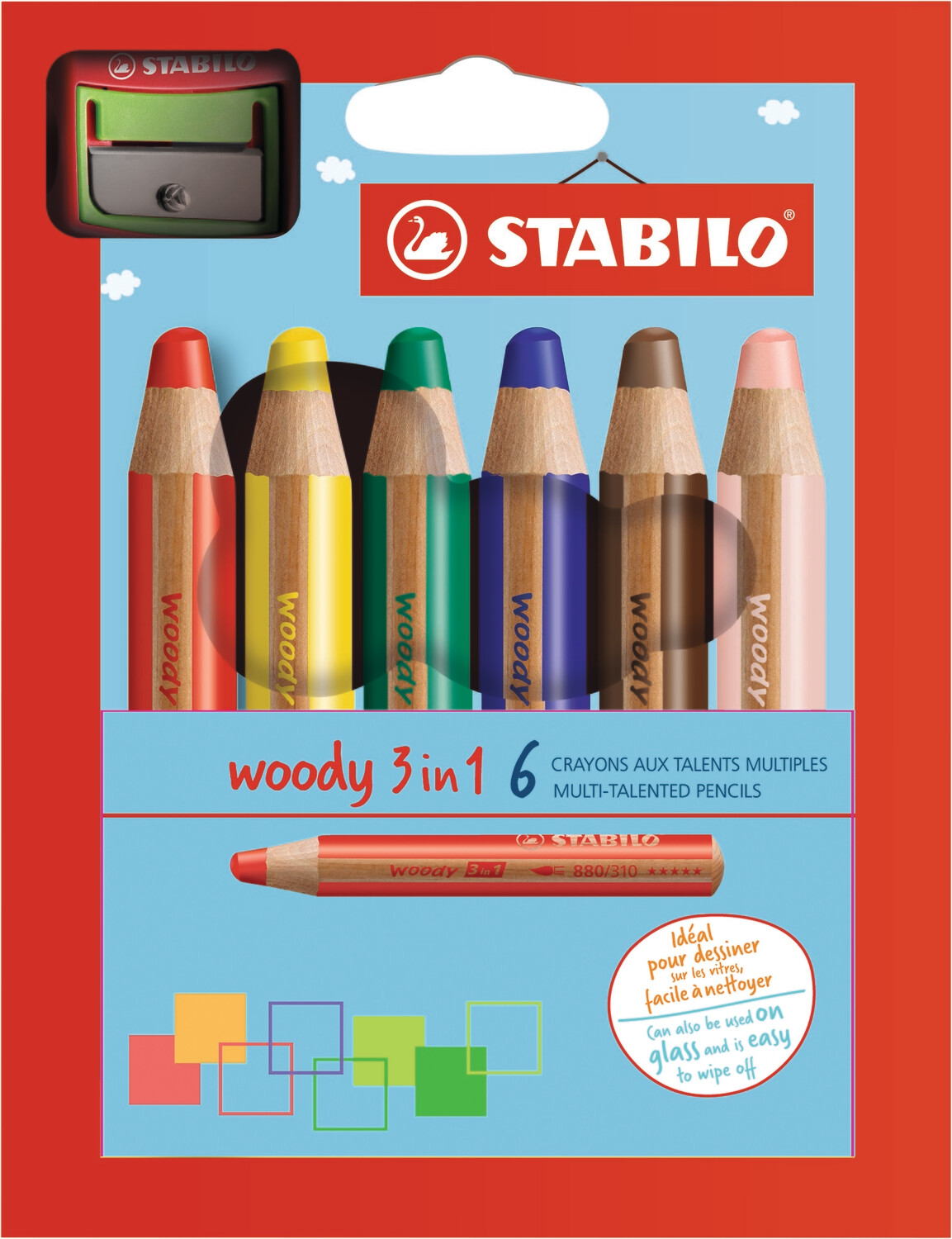Pencil, Multi Use, Woody 3 in 1 Assorted 6 Pack + Sharpener