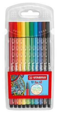 Pen, 68, Bullet Tip Assorted 10 Pack, 1 Mm