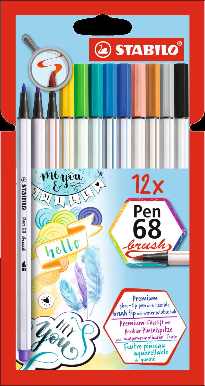 Pen, 68 Brush Assorted, 12 Pack