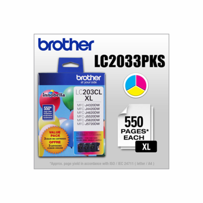 Brother Ink Lc203 3Pks Xl Colour 3 Pack