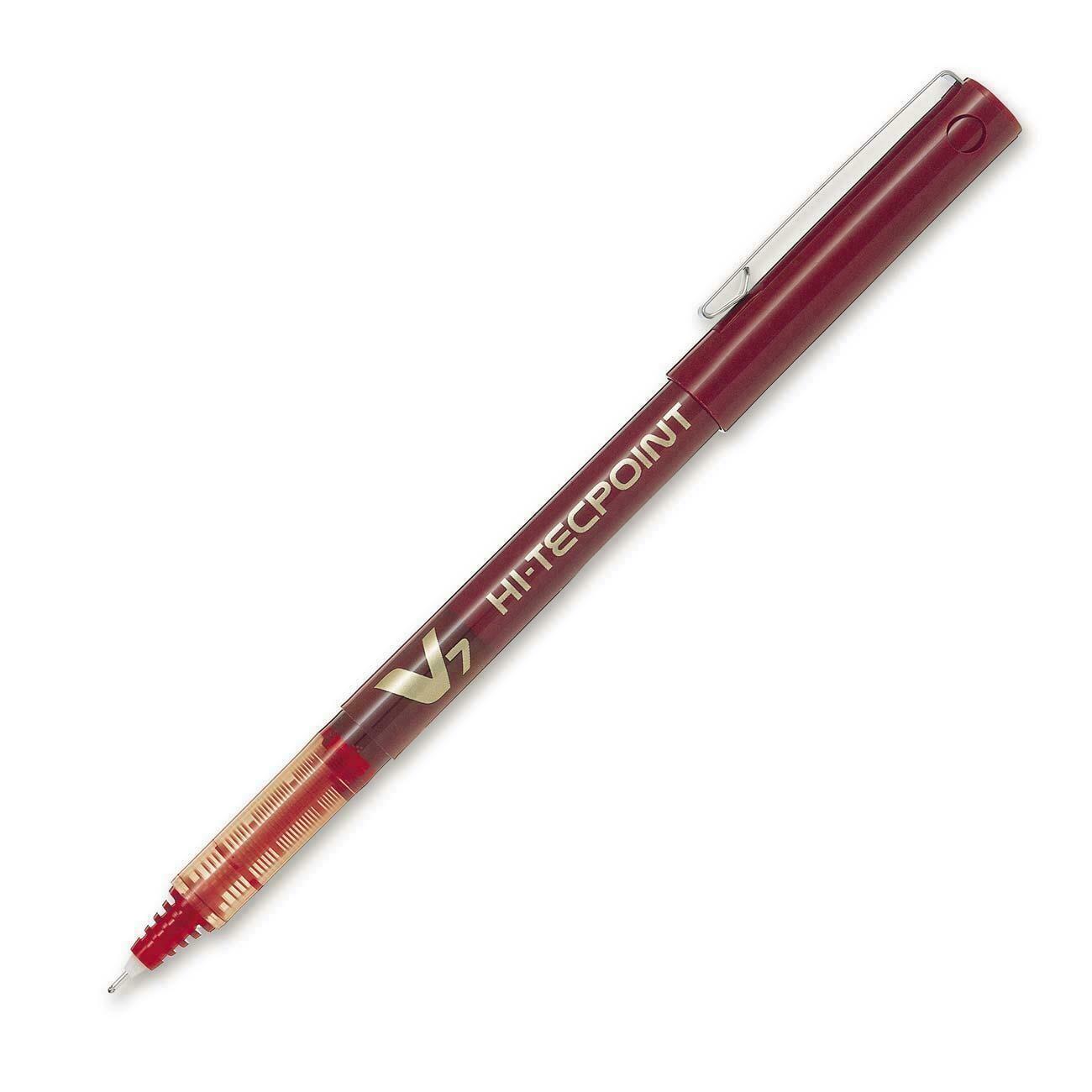Pen, Rollerball, Hi-Tecpoint V7 Red, Single, 0.7 Mm